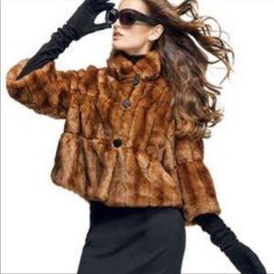 INC Whiskey Brown Cropped Swing Faux Fur Jacket